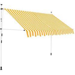 vidaXL Markiza zwijana ręcznie, 250 cm, żółto-białe pasy Darmowa wysyłka i zwroty