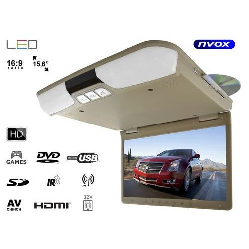 """Monitory samochodowe, Monitor samochodowy podwieszany podsufitowy LCD 15"""" DVD IR FM HDMI USB SD GRY 12V"""