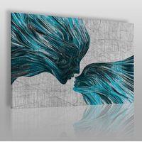 Obrazy, Taniec żywiołów w błękitach - nowoczesny obraz na płótnie