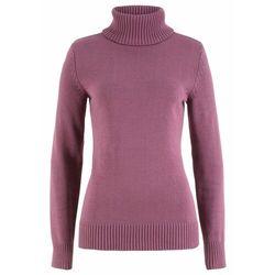 Sweter z golfem bonprix matowy jeżynowy