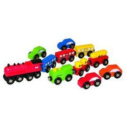 Kolejka - Samochody i Pociągi 11 elementów Woodyland