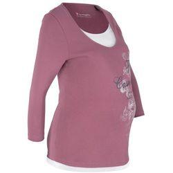 Shirt bawełniany ciążowy i do karmienia bonprix matowy jeżynowy z nadrukiem