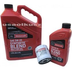 Oryginalny filtr oraz syntetyczny olej silnikowy Motorcraft 5W20 Lincoln MKZ 2,5