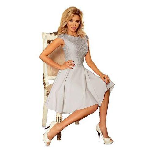 Suknie i sukienki, Sukienka elegancka rozkloszowana z koronką - jasnoszara