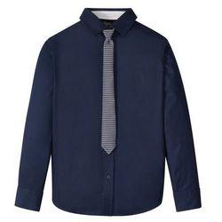 Koszula z krawatem (2 części) bonprix ciemnoniebieski