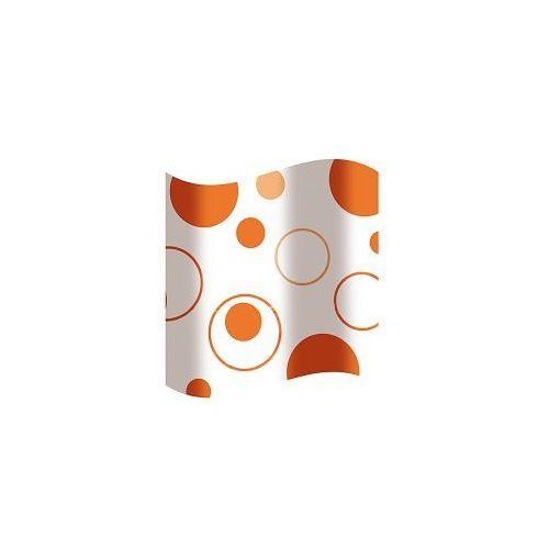 AWD INTERIOR Zasłonka prysznicowa biała w pomarańczowe kółka AWD02100817