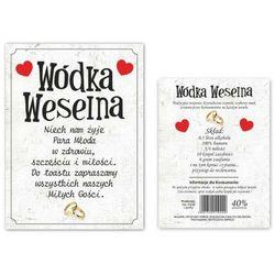 """Etykiety na butelkę """"Wódka Weselna"""", dwustronna, 12,5x9,5 cm, 50 szt"""