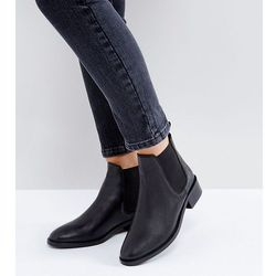 ASOS ABSOLUTE Wide Fit Leather Chelsea Ankle Boots - Black