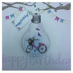Karnet Swarovski kwadrat Urodziny rower