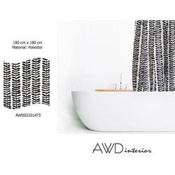 AWD INTERIOR Zasłonka prysznicowa biała z czarnym nadrukiem AWD02101473 1473