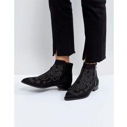 ASOS AUTO PILOT Suede Studded Ankle Boots - Black