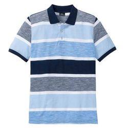 Shirt polo w paski ze specjalnym krojem na wys. brzucha bonprix niebieski w paski