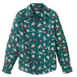 Koszula z długim rękawem i bożonarodzeniowym nadrukiem, Slim Fit bonprix głęboki zielony z nadrukiem