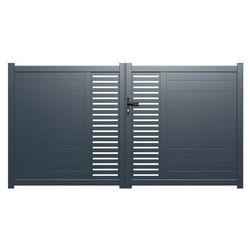 Brama wjazdowa rozwierna orist, z aluminium, półażurowa – 350 × 160 cm (szer. × wys.) – kolor antracytowy marki Vente-unique.pl
