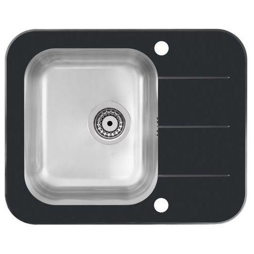Zlew stalowy z blatem szklanym Quadron Keanu 116, kolor czarny