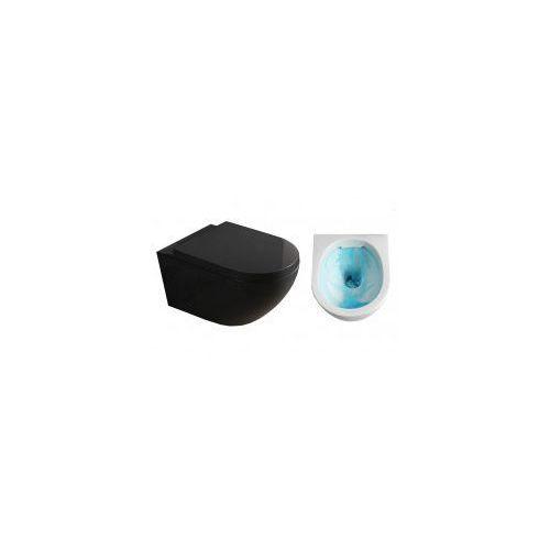 VERA RIMLESS BLACK Miska WC wisząca + deska duroplast wolnoopadająca