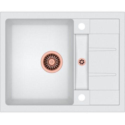 Quadron Zlewozmywak morgan 116 biały metalik + odpływ miedź pvd [hb8210u1-c1]