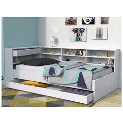 Łóżko z szufladami i półkami renato ii - 90 × 190 cm - biały marki Vente-unique.pl