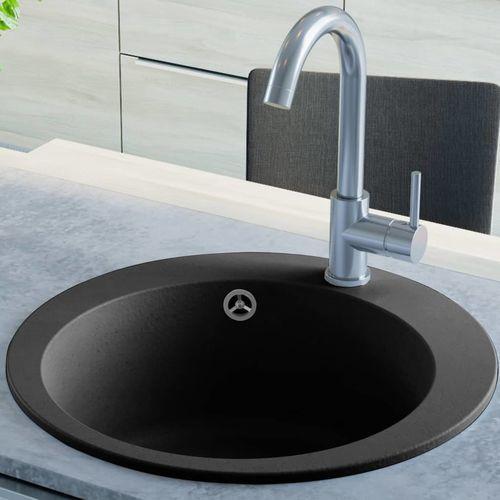 Vidaxl Granitowy zlewozmywak jednokomorowy, okrągły, czarny