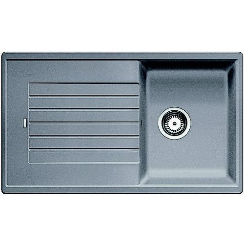 Zlew BLANCO ZIA 45SL ALUMETALIK z korkiem manualnym (516739) (zamów wycięcie otworów gratis), 517569