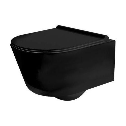 PORTER Miska WC wisząca czarna Rimless + deska wolnoopadająca, REA-C2361