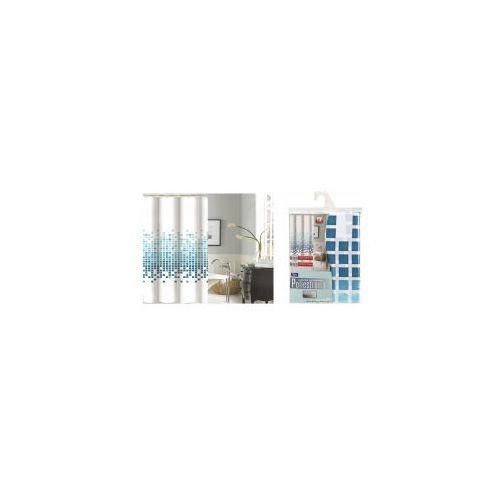 GALICJA Zasłonka prysznicowa 180 x 200 Poliestrowa 9472 wz 3 niebieskie kwadraty, 9472 wz 3