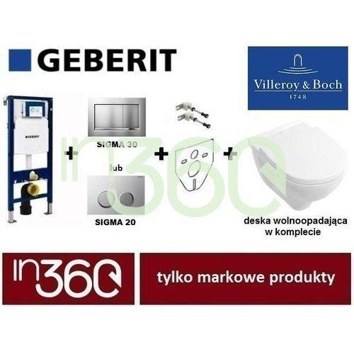 Geberit villeroy o.novo zestaw stelaż miska wc, deska w/o i przycisk, wsporniki (5660hr01+111.320.00.5+111.815.00.1+115.883.kh.1+156.050.00.1) in.000z331