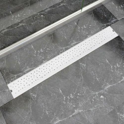vidaXL Kratka odpływowa, liniowa, 930x140 mm, wzór w kropki, stal nierdzewna (8718475979142)