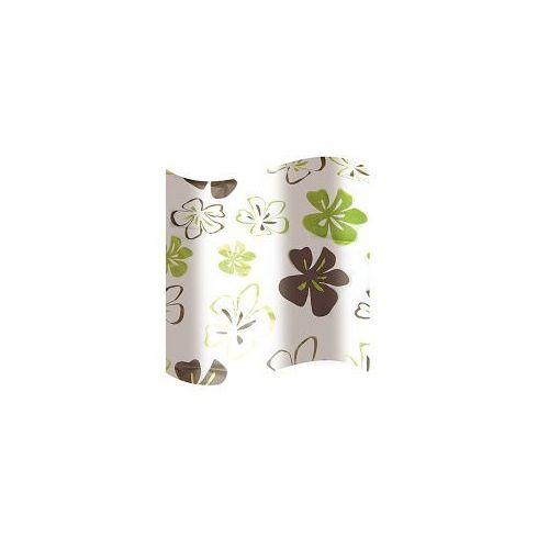 AWD INTERIOR Zasłonka prysznicowa PEVA 180 x 180 cm biała w zielono-brązowe kwiatki AWD02100819, AWD02100819