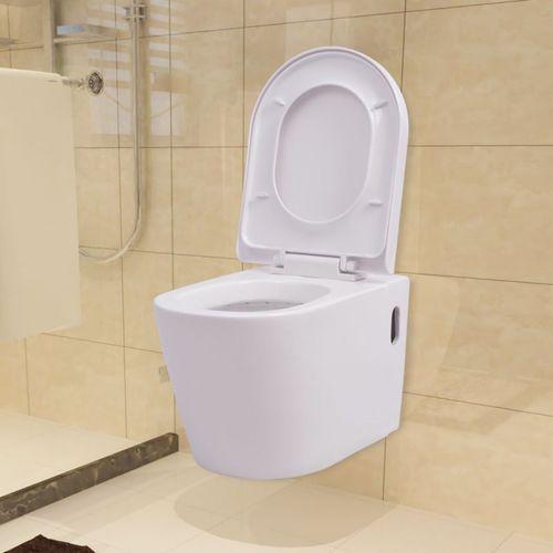 Vidaxl podwieszana toaleta ceramiczna, biała