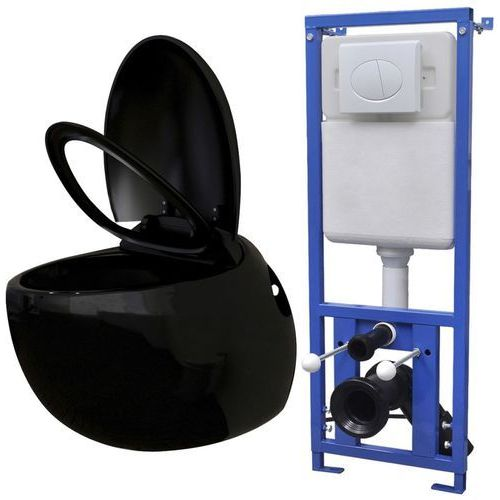 podwieszana toaleta owalna, ze zbiornikiem, czarna marki Vidaxl