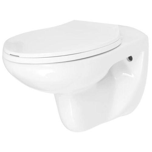 Toaleta podwieszana z cichym zamykaniem, ceramiczna, biała marki Vidaxl