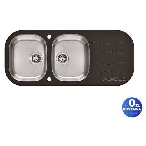 Alveus Wave 40 czarny zlewozmywak szklany 2-komorowy z ociekaczem + syfon automatyczny (3838997442599)