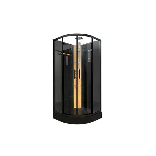 Vente-unique Kabina prysznicowa kyou w kolorze czarnym - tropikalny deszcz i bambusowy panel - dł.90 x gł.90 x wys.220 cm