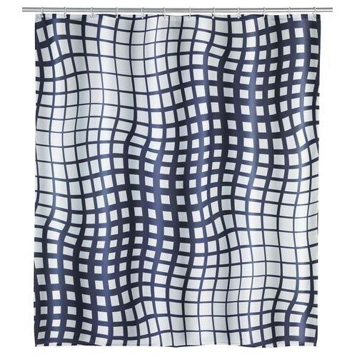 Wenko Zasłona prysznicowa studio, wodoodporna, antybakteryjna, anty-pleśniowa, 180 x 200 cm, 12 pierścieni, poliester, biało-czarna