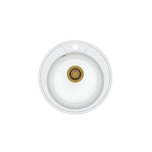 Zlew granitowy ze złotym syfonem Quadron Danny 210 - Biały, kolor biały