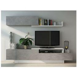 Ścianka RTV MONTY z półkami — kolory: szary i biały