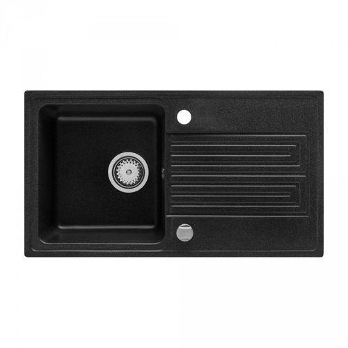 Zlewozmywak granitowy Geo czarny z ociekaczem 43x77 cm + syfon automatyczny