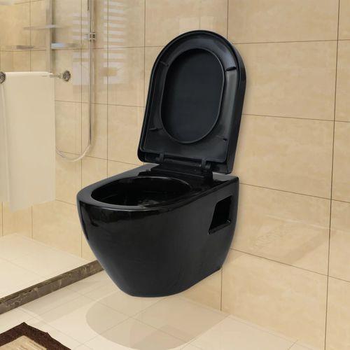 Podwieszana toaleta ceramiczna, czarna marki Vidaxl