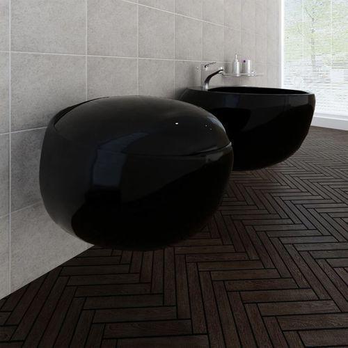 vidaXL Toaleta podwieszana i bidet, czarna ceramika, zestaw (8718475863861)