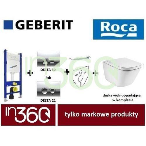 Geberit Roca Gap Zestaw Stelaż podtynkowy Miska WC wisząca bezrantowa z deską w/o (A34647L000+A80148200U +111.153.00.1 +111.813.00.1 +115.135.21.1) IN.000Z183