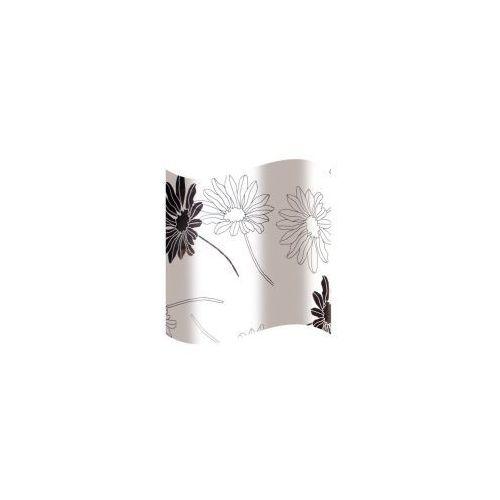 AWD INTERIOR Zasłonka prysznicowa biała w czrne kwiatki AWD02100818
