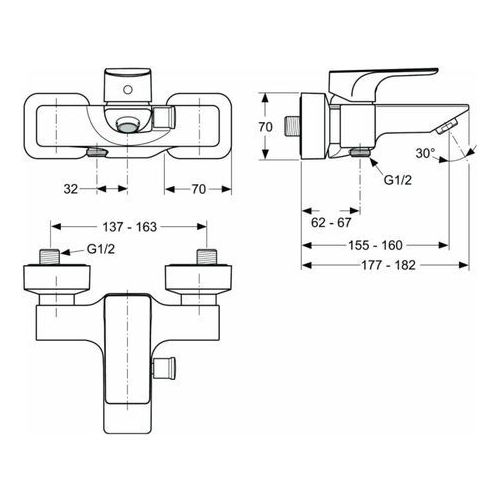 Bateria Ideal Standard STRADA A5848AA