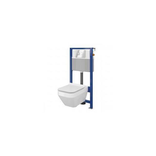 Cersanit Crea Set B23 miska WC CleanOn z deską wolnoopadającą Slim i stelaż podtynkowy Aqua z przyciskiem spłukującym Accento Square chrom błyszczący S701-318 WYSYŁKA GRATIS