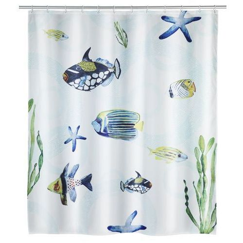 Zasłonka prysznicowa Aquaria, motyw morski, wielokolorowa, wykonana z poliestru, wymiary 200 x 180 cm, mocowana na gumowej taśmie, WENKO (4008838221976)