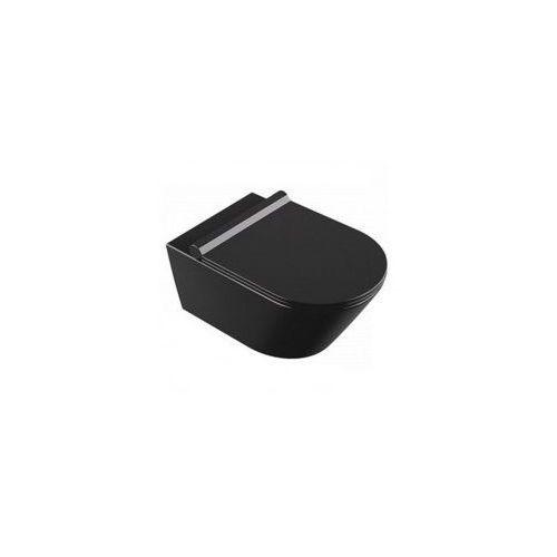 SONET BLACK SLIM Miska WC wisząca + deska duroplast wolnoopadająca, czarna