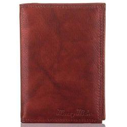 Skórzane etui na dokumenty brązowy portfel