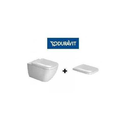 Duravit happy d.2 zestaw miska wc wisząca 54x36,5 cm bezrantowa rimless z deską wolnoopadającą biała (2222090000+0064590000) 2222090000+0064590000