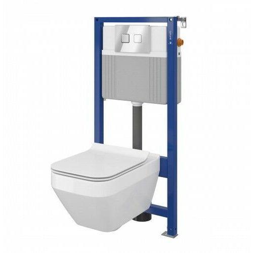 Cersanit Crea Set B23 miska WC CleanOn z deską wolnoopadającą Slim i stelaż podtynkowy Aqua z przyciskiem spłukującym Accento Square chrom błyszczący S701-318, S701-318