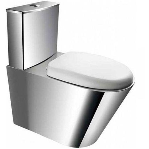 KOMPAKT WC stojący Faneco ze stali nierdzewnej z deską PVC, UR2A
